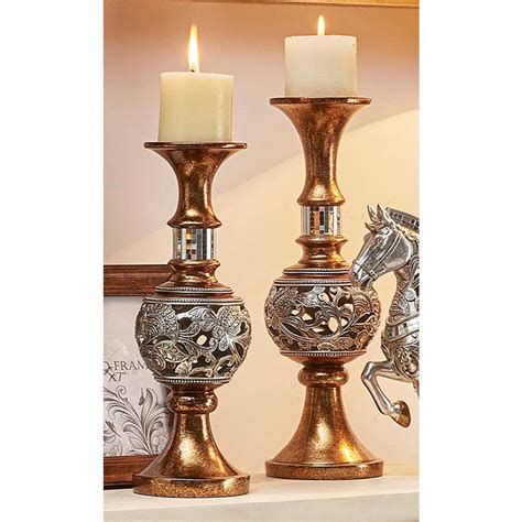 Silver 4 Candle Holder Stand by Ore International Langi Gold Silver Candle Holder Set Of