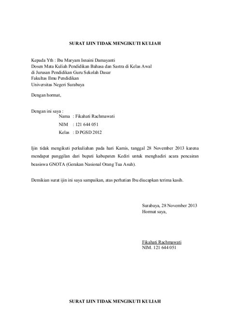 Contoh Surat Izin Tidak Masuk Kantor by Contoh Surat Izin Sakit Bahasa Indonesia Druckerzubehr