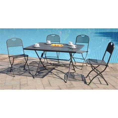 ensemble table de jardin finlandek ensemble table de jardin 120 4 chaises gris achat vente salon de jardin
