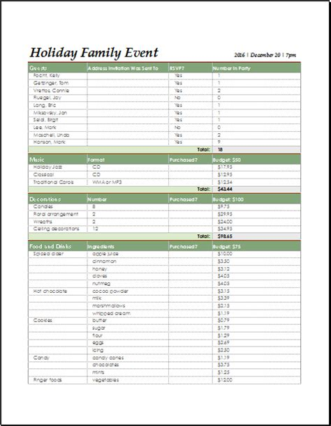 holiday family event checklist  excel document hub