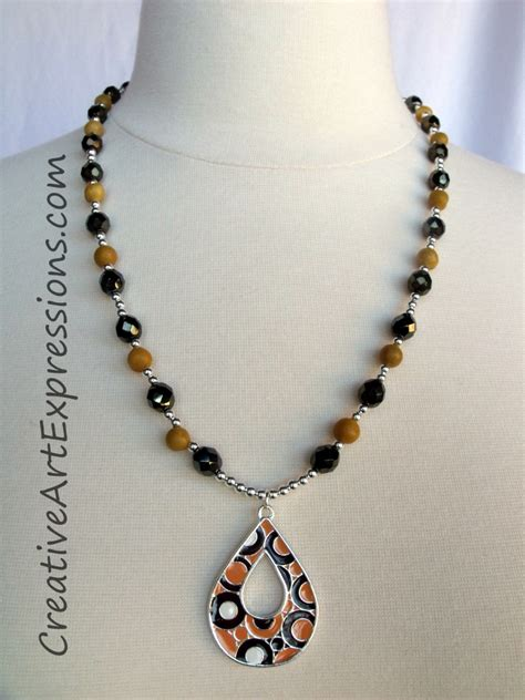 Necklace Handmade Design - creative expressions handmade iris brown yellow