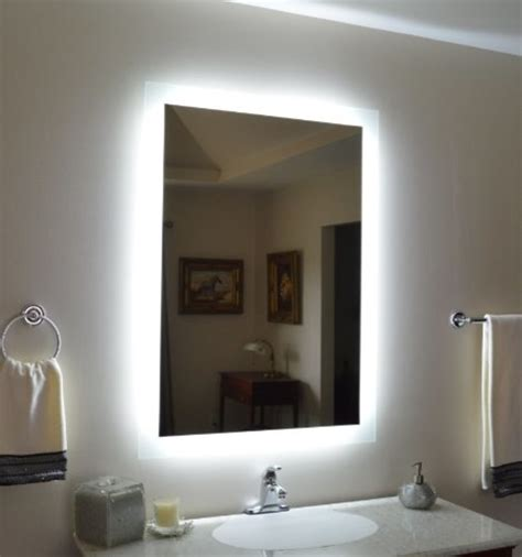 Wall Mounted Lighted Vanity Mirror Modern Bathroom Bathroom Mirror Lighted