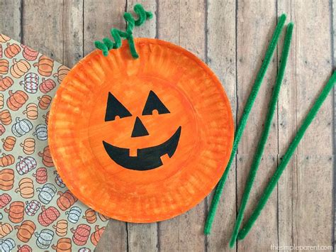 Paper Pumpkin Crafts For - easiest paper plate pumpkin craft