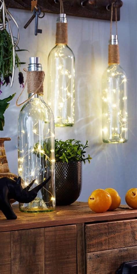 led deko weinflasche rustikale laternen terrasse dekor