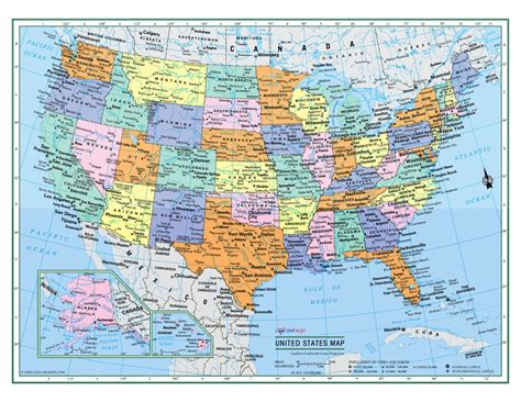 usa map poster united states wall map usa poster 22x17 or