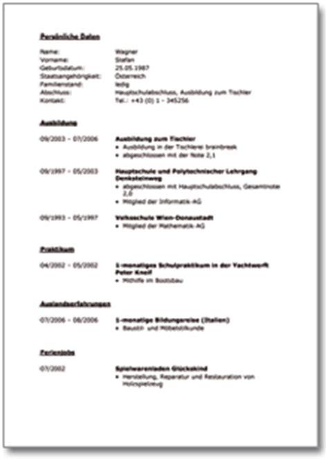 Lebenslauf Muster Referenzen Lebenslauf Tischler Muster Vorlage Zum