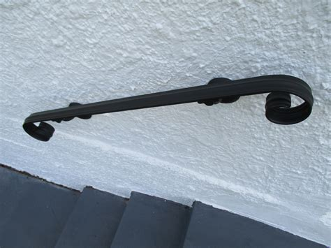Exterior Wall Mounted Handrail 16 Ft Wrought Iron Wall Mount Rail Scroll
