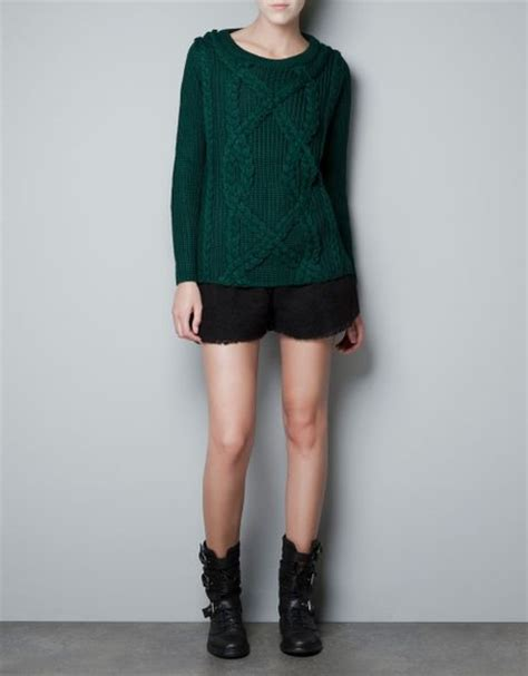 zara cable knit jumper zara cable knit jumper in green green lyst