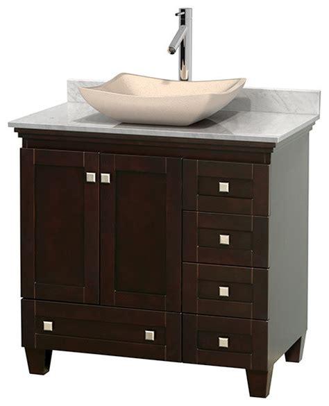 transitional bathroom vanities acclaim 36 quot espresso vanity carrera marble top avalon