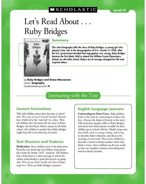 read h guided reading level h let s read about ruby bridges