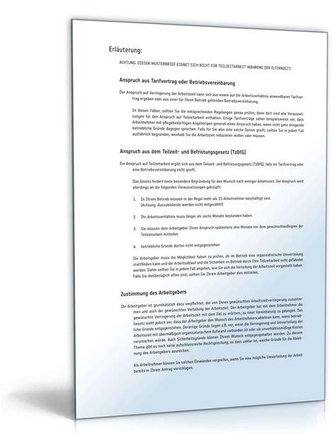 Antrag Teilzeit Vorlage Anmeldung Teilzeitarbeit Muster Vorlage Zum