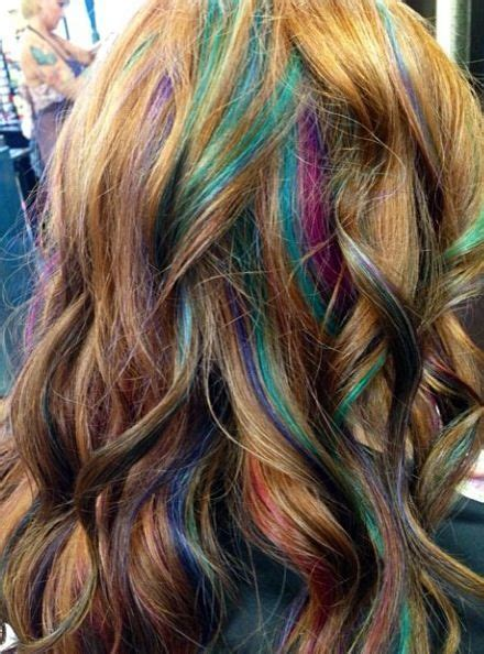 color placement red brown mermaid hair pink turquoise and purple highlights unique