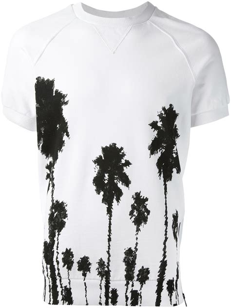 Tshirt Printing Small Palm lyst christian pellizzari palm tree print tshirt in white for
