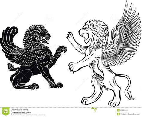 standing and winged lion stock vector illustration of