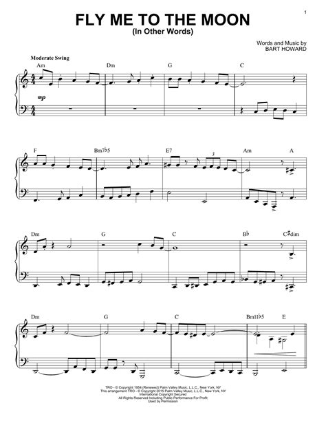 tutorial piano fly me to the moon fly me to the moon in other words sheet music by tony