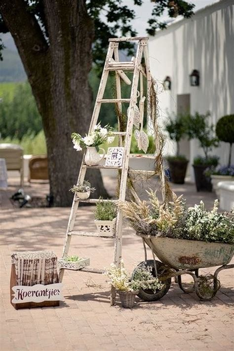 Wooden Ladder Garden Decor 27 Vintage Ladders For Interior Ideas Home Design And