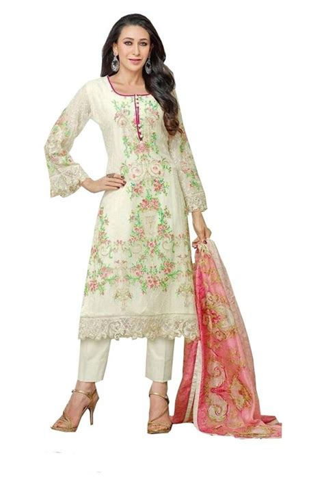Semi Plastisol White Colour buy white color georgette fabric embroidred semi stiched salwar kameez