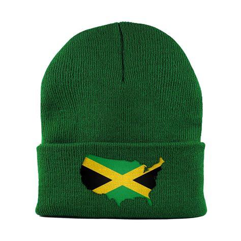 jamaican knit hats jamaican american mapflag cuffed knit beanie hat