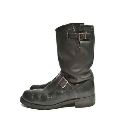 vintage engineer boots black leather by
