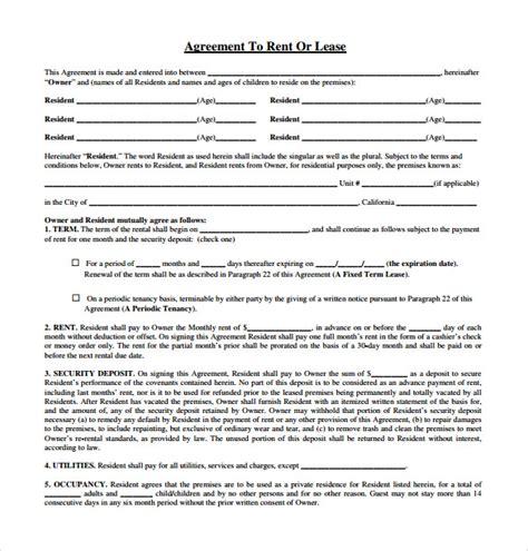 sle rental lease agreement 9 free documents in pdf word