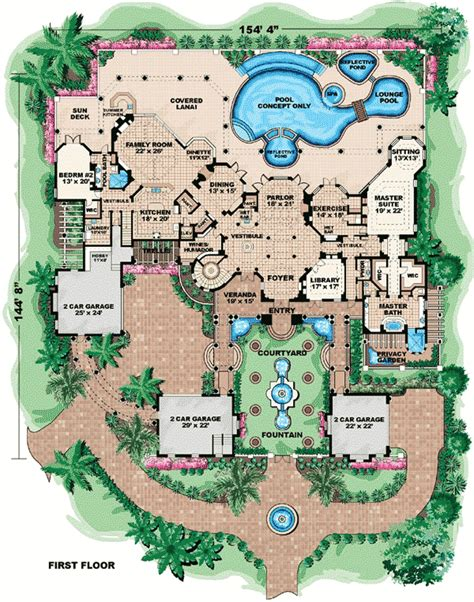 dream house plan pool included from coolhouseplans com ultimate dream home 66024we architectural designs