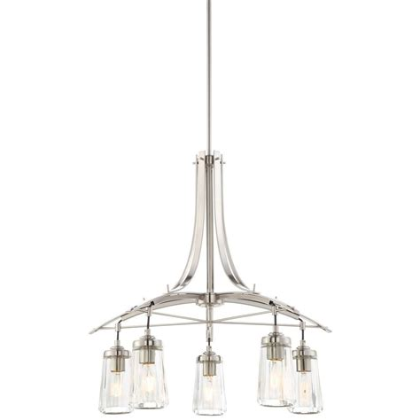 Brushed Nickel Island Lighting Minka Lavery Poleis 5 Light Brushed Nickel Island Fixture 3305 84 The Home Depot