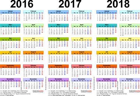 Kalender 2018 Bayern Rosenmontag Dreijahreskalender 2016 2017 2018 Als Excel Vorlagen Zum