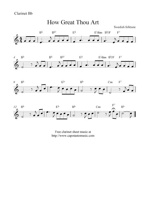 printable sheet music for clarinet how great thou art free clarinet sheet music notes