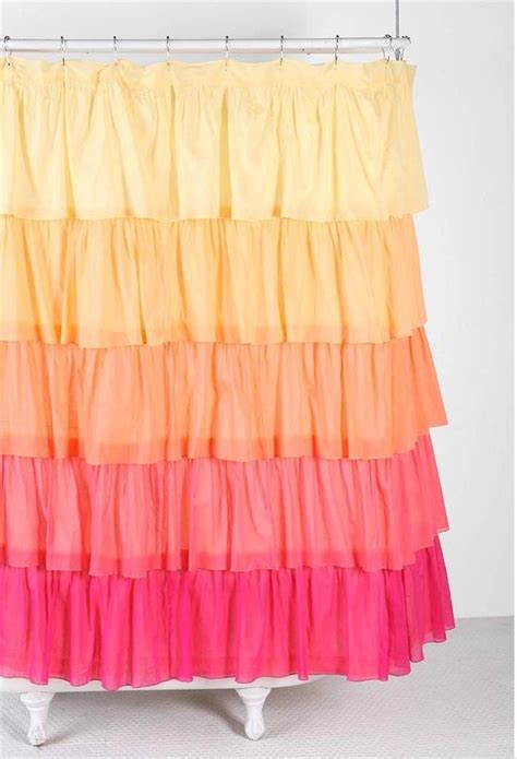 yellow ruffle shower curtain shabby flamenco chic ruffled ombre yellow orange pink