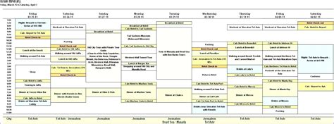 travel itinerary template free printable online calendar