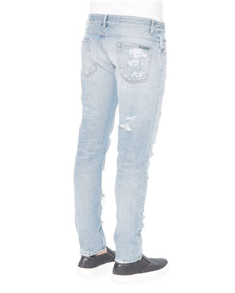 light wash distressed denim dolce gabbana light wash distressed denim in blue