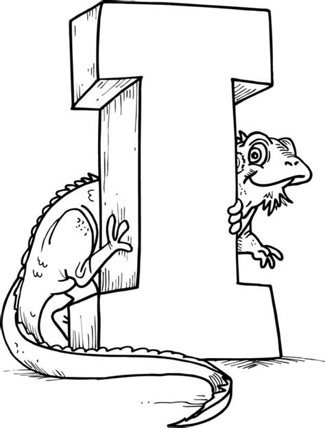 letter i is for iguana coloring page free printable green iguana with letter i coloring page for kids
