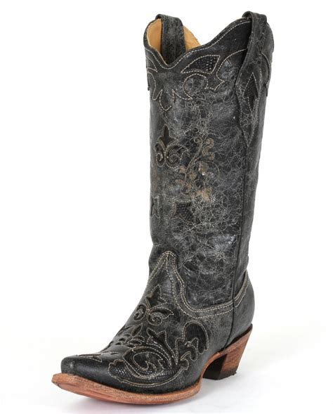 corral boots 174 black vintage lizard snip toe boots