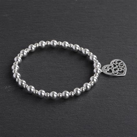 solid 925 sterling silver beaded bracelet with charm