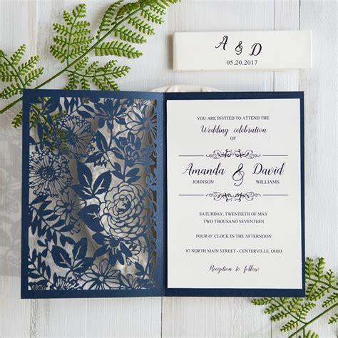 laser printed wedding invitations botanical navy blue wedding invitations laser cut swws031 stylishwedd
