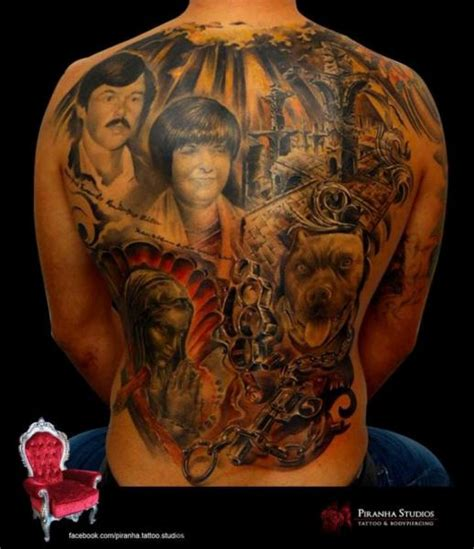 tattoo back chicano full back dog and family chicano tattoo by piranha tattoo