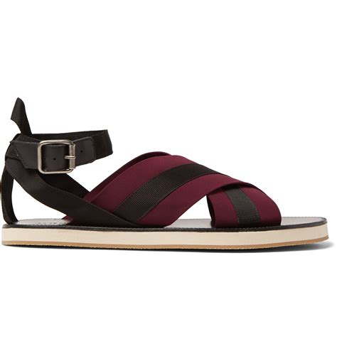 dries noten leather and grosgrain sandals in purple for lyst
