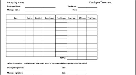 employee punch card template timesheet templates find word templates