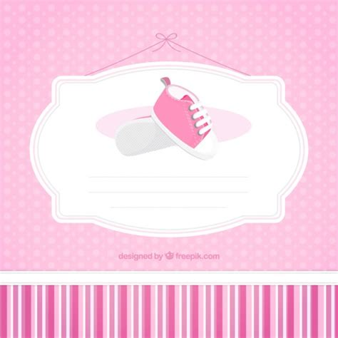 pink baby shower card template vector free download