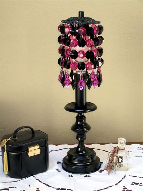 Girly Chandeliers Diva Girly Black And Pink Beaded Chandelier Light