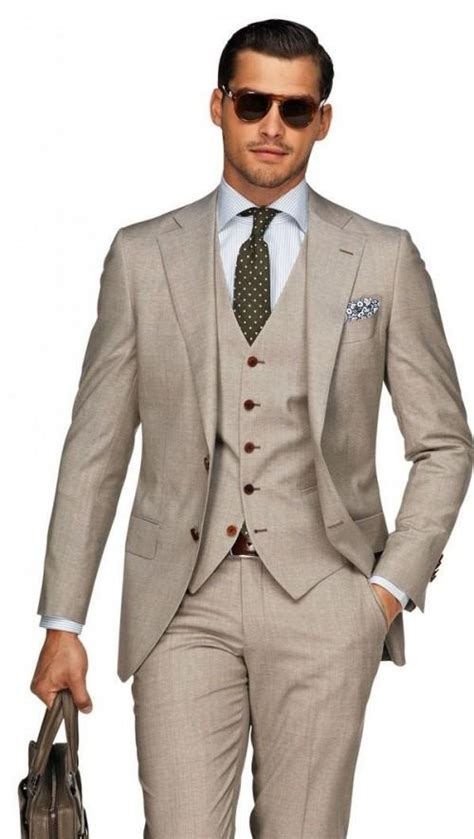 Beach Brown Linen Men Wedding Suits Casual Notched Lapel Grooms Tuxedos Three Piece Men Suits