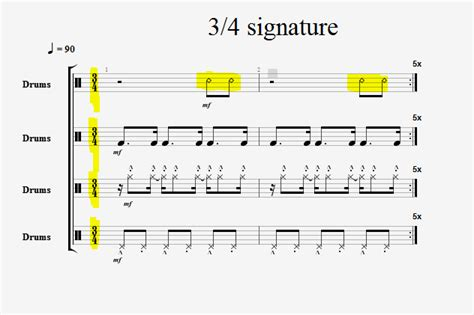 drum pattern triple time 3 4 vs 6 8 time signatures page 11 talkbass com