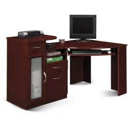 Bush Vantage Corner Computer Desk Bush Industries Vantage Corner Computer Desk In Harvest Cherry Walmart