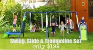 swing set coupons sportspower mountain view metal swing slide troline