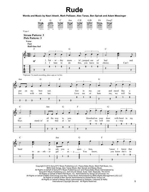 tutorial guitar rude rude sheet music by magic easy guitar tab 158021