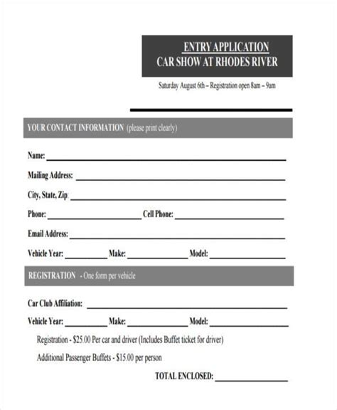 car application sle car show registration forms 7 free documents