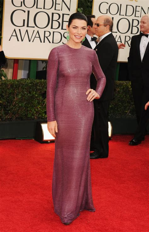 Julianna Margulies Is A Safety by Julianna Margulies In Purple At Golden Globes 2012