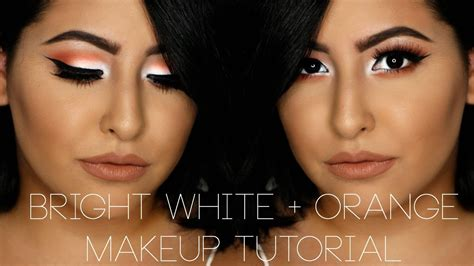 white eyeliner tutorial youtube bright white orange makeup tutorial misstiffanykaee