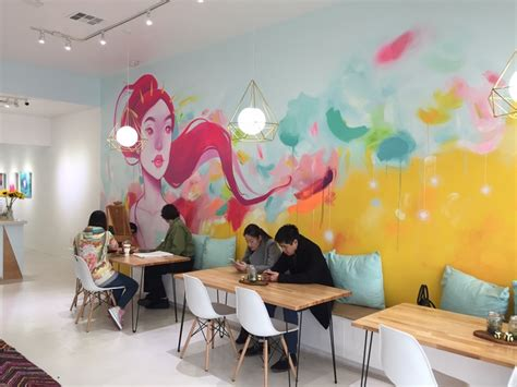 design art cafe interior wall art cafe more great graphic grinspiration