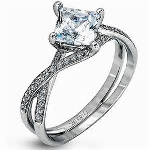 twist engagement ring simon g princess cut quot twist quot split shank engagement ring
